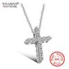 YHAMNI Luxury Original 925 Sterling Silver Cross Pendant Necklace Princess Luxury Diamond Necklace Pendant for Ladies and Women N10