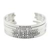 New arrival! 316L Stainless Steel Engraved Positive Inspirational Quote Cuff Mantra Bracelet Bangle for women men