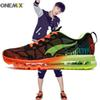ONEMIX 2018 Man Running Shoes for Men Air Cushion Athletic Trainers Mens Mesh Breathable Sports Shoe Shiny Green Outdoor Walking Sneakers 90