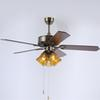 Retro European American style LED ceiling fans lights 52 inches 132 cm 5 wooden blades mute led ceiling fan light