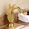 Wholesale- Gold Finish Luxury Swan Shape Brass Basin Sink Faucet Bathroom Single Hole Centerset Basin Mixer Tap