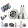 3W RGB LED Bulb Lights 16 Color Changing AC85-265V E27 GU10 E14 GU5.3 DC AC12V MR16 with 24 Key IR Remote Control