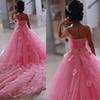 2017 Lovely Pink Little Flower Girls Dresses Lace 3D Hand Made Flowers Sleeveless Chapel Train with Big Bowk Peagent Dresses