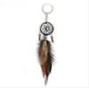 Ancient Silver Leaves Handmade Dream Catcher Key Chain Pendant Keyring Dream Catcher Creative Tassel Feather Keychains