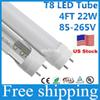 Stock in US + 25Pcs T8 Led Tube 1200mm 22w 4ft Smd2835 Bulbs Integrated Tubes Light Fluorescent Cold Warm White Ac85-265V UL