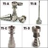 GR2 titanium domeless nail carb cap 6 In 1 female male domeless titanium nail for glass bongs oil rigs