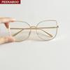 Wholesale- Peekaboo new sexy big cat eye glasses frames for women brand black silver gold clear fashion glasses cat eye metal frame