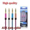 New arrival 3.5mm AUX Audio Cables Male To Male Stereo Car Extension Audio Cable For MP3 For phone 10 Colors with retail package