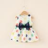 INS White Dot Sleeveless Dress Baby Girls Bow Tie Clothing European Root Yarn Dresses Childrens Dresses For Kids Free Shippping