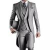 2019 Custom Made Groom Tuxedos Grey Groomsmen Best man Men's Wedding Suits (Jacket+Pants+Vest) wedding Tailcoat suit EW7102