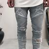 Wholesale slp blue black destroyed mens slim denim straight biker skinny jeans Casual Long men ripped jeans Size 28-38 free shipping