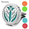 Car Perfume Diffuser Locket Vent Clip 316L Stainless Steel Pendant Car Air Freshener Magnetic Angel Wings without Felt Pads VA-311