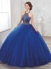Golden Beaded Navy Halter Quinceanera Dresses Gown With Jacket Back Lace-up Puffy Skirt Prom Dress Gown For 15 Years ADQ007