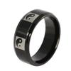 Yin and Yang Taiji 8mm Charming Rings for Men and Women Stainless Steel Black Ring Jewelry