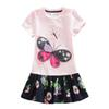 4-8Y 2017 Girls Mini Dress Girls Clothing Short Sleeve Summer Cartoon Butterfly with Bow Free Shipping in Stock SH5460