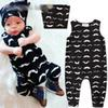 Baby boys INS beard pattern rompers 2018 new Newborn ins Sleeveless rompers+hat 2pcs sets baby clothes B001