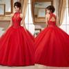 Sheer Crew Neck Sweet 16 Masquerad Red Beaded Quinceanera Dresses Lace Appliqued Ball Gowns Tulle Debutante Ragazza Dress