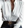 Women Casual Solid Long Sleeve Blouse Lapel Cotton Shirt Blouse Shirt Women Turn-down Collar Regular Blusas Plus Size Woman Clothing S-3XL
