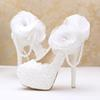 Funky white lace up flower girls shoes pearls wedding dress shoes for women super high heels bridal shoes