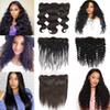 Wholesale Brazilian Virgin Hair Straight Body Deep Water Wave Kinky Curly Human Hair Extensions 13x4 Lace Frontal Wefts with Closure