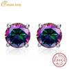 6.4ct Natural Mystic Fire Rainbow Topaz Round Earrings Silver 925 Stud For Women piercing ear Sterling Silver Earrings For Women S18101207