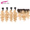 Carina Bundles with Frontal Body Wave 1b27 Color Malaysia Remy Human Hair Ombre Honey Blonde Hair with Ear to Ear Lace Frontal