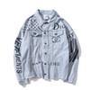 Hot Sale Autumn Lover Denim Casual Black Blue Jacket Tops Men's Letters Printing Old Streetwear Cowboy Jacket Sizes M-2XL