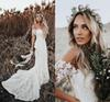 Elegant Boho Lace Mermaid Wedding Dresses Off The Shoulder Short Sleeves Bridal Dresses Beach Wedding Gowns Sweep Train