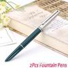 Wholesale-2Pcs Hero Fountain Pen medium Nib Dark Green Vintage signing pen Handwriting calligraphy office school supplies