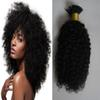 "10""-26"" 100s afro kinky curly Keratin Human Hair Extensions 100g keratin stick tip hair extensions I Tip Hair Extensions Human capsules"