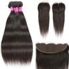 Brazilian Virgin Hair Straight Human Hair 3 Bundles with Closure Unprocessed Peruvian Malaysian Indian Body Wave Hair Extensions and Frontal