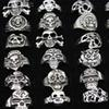 SENHUA Wholesale lots 25pcs MIXED Cool BOY Mens Jewelry Biker Gothic Style Antique Silver skeleton Skull Rings for Halloween Gift MR88
