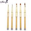 5 Styles Nail Art Rhinestone Diamond Golden Handle Extension Carving Powder Gel Liquid Painting Drawing Liner Brush