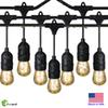 Zoopod 48 Foot Weatherproof Outdoor String Lights 15pcs+1pcs S14 LED Filament Bulbs Included Perfect Patio Lights & Party Lights-Black