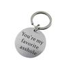 PIXNOR You're My Favorite Asshole Key Chain Stainless Steel Keyring Funny Keychain for Boyfriend Husband Valentine's Gifts