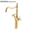 European Design Luxury High Quality Dual Handles Hot Cold Tall Gold Faucet Bathroom Gold Basin Tap