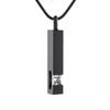 IJD9726 Black Plating Crystal Bar Memorial Urn Pendant 316L Stainless Steel Ashes Holder Keepsake CREMATION NECKLACE Jewelry for Men