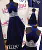 A-Line Royal Blue Velvet Girl Pageant Dresses for Wedding Party Pageant Dresses Crystal Beaded Communion Prom Gowns Open Back Custom Made