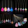 Fashion Natural stone Crystal Cutting Lines Shine Rainbow Colors Necklace Agate Pendant