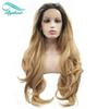 Bythair Bouncy Wavy Ombre Blonde Two Tone Synthetic Lace Front Wig Dark Root  Natural Blonde Heat Resistant Fiber Women Hair Wigs