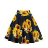 Women Sunflower Floral Skirts Printed High Waist Swing Pleated Midi Skirts Female Casual Summer Skirt