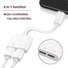 2 in 1 Dual For Headphone Audio Charger Adapter Connectors Cable For 7 8 X Plus Charging Music 30pcs