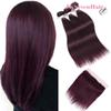 Straight Ombre Burgundy Malaysian Virgin Human Hair Bundles 3pcs With 13x4Inch Lace Frontal Burgundy Red Peruvian Indian Remy Hair Wefts