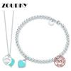 DORAPANG Green Heart Shaped Bracelet & Necklace 100% 925 Sterling Silver Blue Pendant Simple For Women Elegant Gift Jewelry