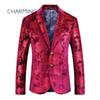 Red suits for men High quality fabric pattern embossing process For singers Designer suits for mens formal jacket