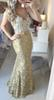 Real Picture High Quality Gold Lace Mermaid Evening Dresses Long For Women Prom Dress Free Shipping vestido de festa 2018