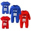 2018 Baby Boys Girls Clothes Newborn Blue and Red Long Sleeve Cartoon Printing Jumpsuit Infant Clothing Set