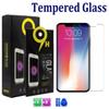 For Iphone XS Max XR 8 7 Plus Samsung J3 2018 S7 LG Stylo 4 Tempered Glass Screen Protector 0.33mm 2.5D 9H with Gold paper package