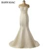 wholesale 2017 New Mermaid Luxury Embroidery Strapless Wedding Dresses Sleeveless Zipper Back Satin Sweep Train Bridal Gowns