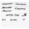 For Porsche Boxster Cayman Cayenne Macan 911 Carrera Turbo GTS S 4 718 Number Letter ABS plastics Rear Tail Trunk Emblem sticker Decal